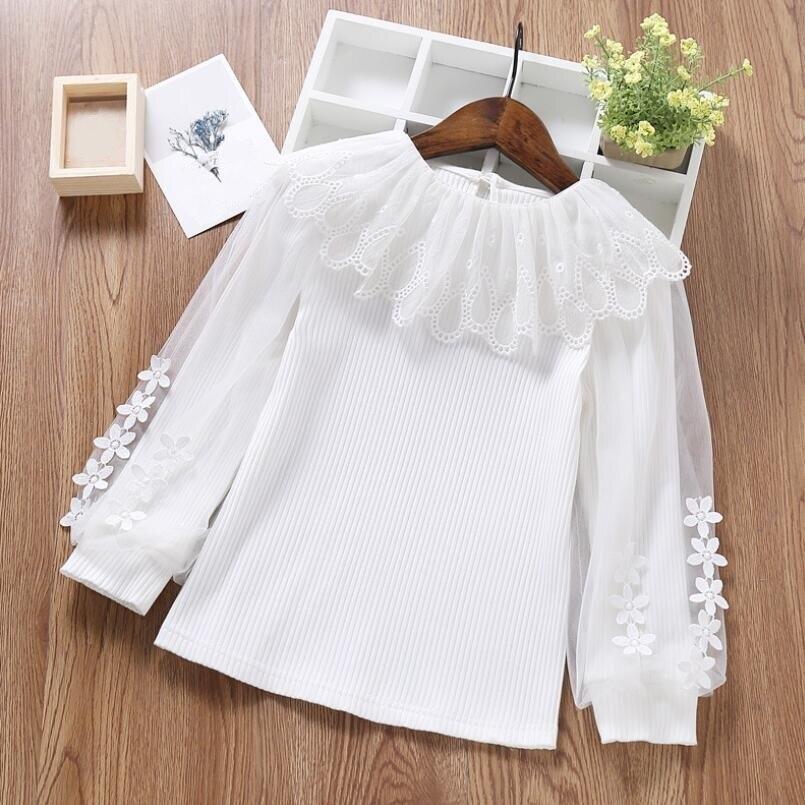 Осенняя хлопковая блузка для маленьких девочек подростков, белая кружевная рубашка с пышными длинными рукавами для девочек, топы для детей, детская одежда, JW4153, 2019| |   | АлиЭкспресс