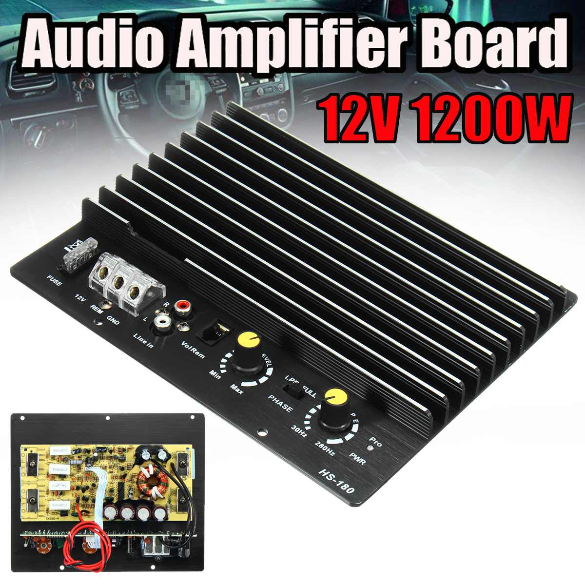 12V 1200W 100A <font><b>Car</b></font> <font><b>Audio</b></font> Power <font><b>Amplifier</b></font> Subwoofer Powerful Bass <font><b>Car</b></font> <font><b>Amplifier</b></font> Board <font><b>DIY</b></font> Amp Board for Auto <font><b>Car</b></font> Player image