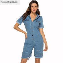 2020 sommer Overall Mode Casual Sexy Schlanke Loch Denim Body Solide Polo Neck Kurzarm Große Größe Frauen Overall CW712(China)