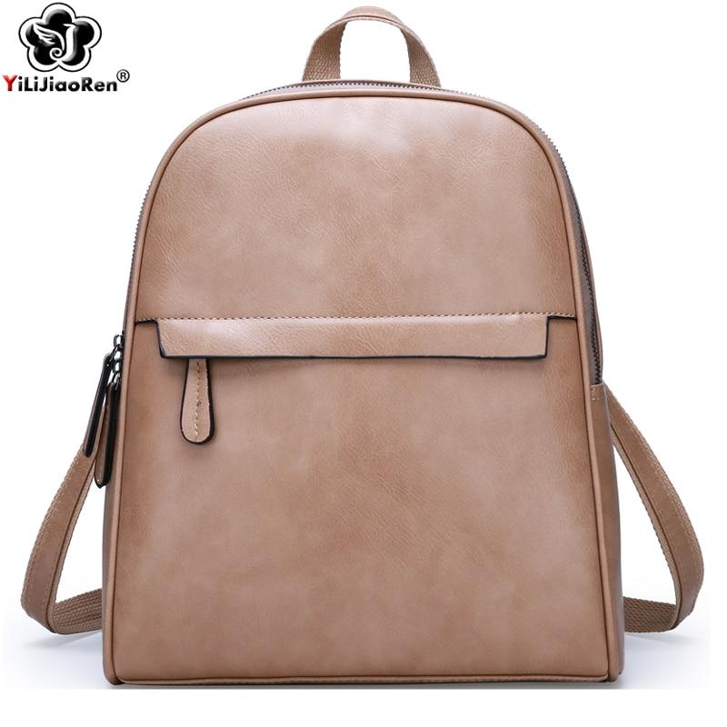 Vintage Backpack Women Leather Backpacks Female Shoulder Bag Large School Bags For Teenage Girls Travel Back Pack Sac A Dos 2019