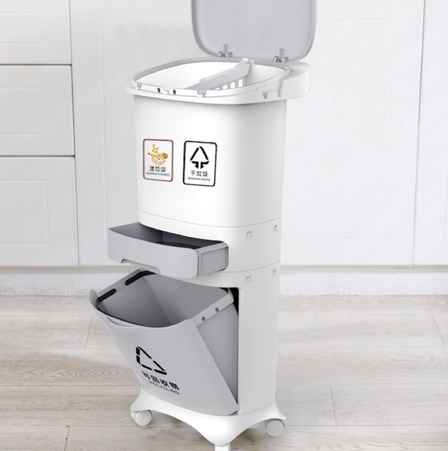 2/3 Layer Classification Trash Can Kitchen Plastic Dustbin Wet and Dry Push Button Recycle Stacked Sorting Rubbish BinWith Wheel|Waste Bins| |  - title=