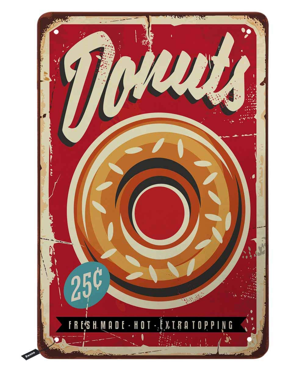 Donuts Tin Signs,Large Donuts on Red Background Vintage Metal Tin Sign for Men Women,Wall Decor for Bars,Restaurants,Cafes