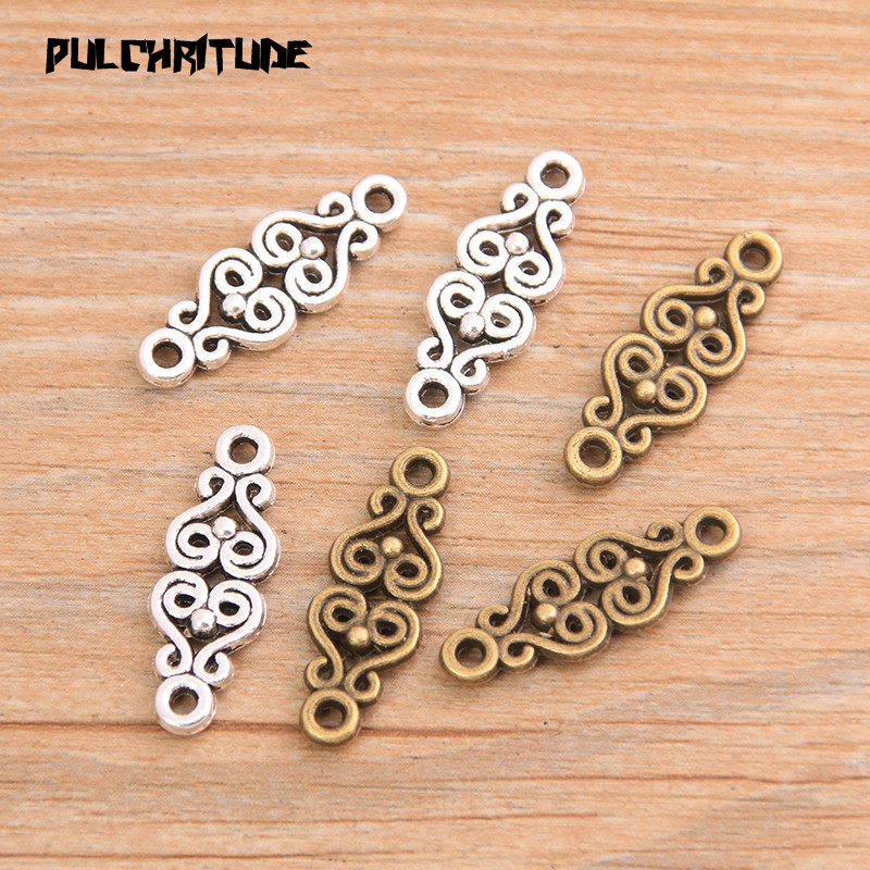 PULCHRITUDE 20pcs 9*25mm Two Color 2020 New Zinc Alloy Vintage Carved Connectors Pendants Jewelry Making DIY Handmade Craft