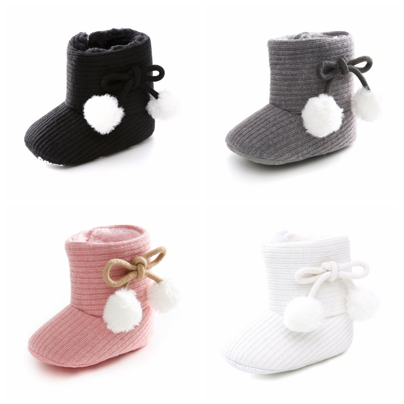 New Autumn Newborn Baby Shoes Baby Girl Boy Polka Dot Knitting Boots Casual Sneakers Non-slip Soft Soled Walking Shoes