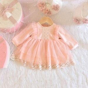 Свадебное платье для девочек; платья на крестины для маленьких девочек; кружевное платье с вышивкой для маленьких девочек; платье для дня ро...