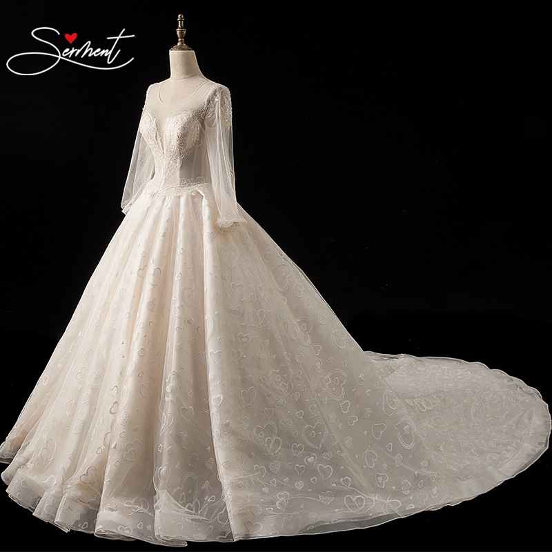 SERMENT Luxury Full Sleeves Lace Wedding Dress Ball Gown Princess Bridal Wedding Gowns Church Wedding Bride Pregnant Woman Size