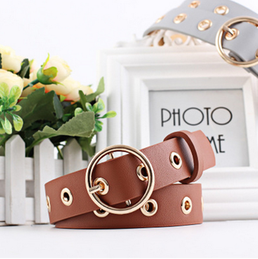 Women Belt Leather Belt Round Metal Pin Buckle Circle Belts For Women Punk Hollow Waistband Strap Ladies Jeans Accessories