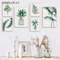 Tropical Plant Leaf Canvas Poster Nordic Botanical Wall Art Print Scandinavian Home Decoration Picture Painting Family Quotes