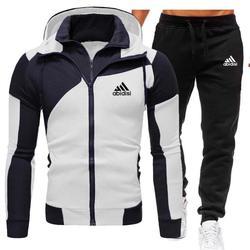 Nieuwe Winter Herenkleding Mannen Sets Afdrukken Hoodie Set Fleece Rits Sweatshirt Toevallige Sport Trainingsbroek Heren Trainingspakken 2020