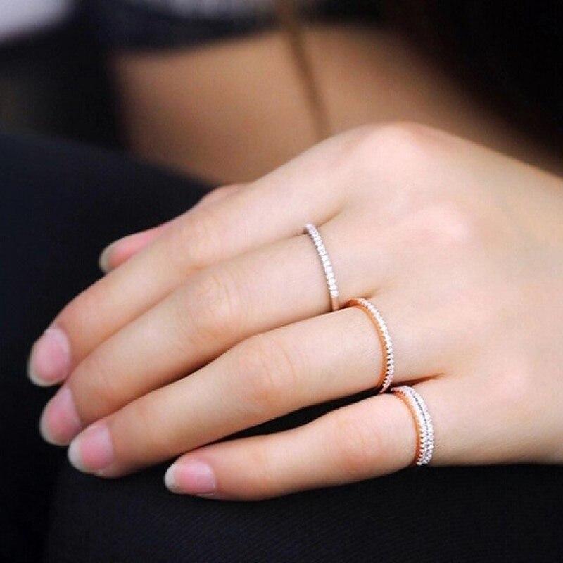 Tamanho 4 13 13 branco roxo rosa amostra anel única linha cristal strass feminino noivado anéis de casamento para mulher nupcial
