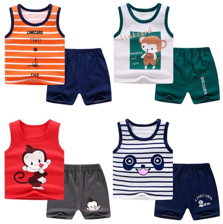 Fashion  Summer Baby Boys Clothes Cotton Infant Vest Tops + Shorts Sets Boys Girls Clothing Outfits Tracksuits Children Costume