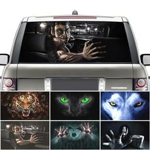 Сюрприз 3D стикер на заднее лобовое стекло автомобиля водонепроницаемый One Way Vision материал OEM 130*70 см уникальный ORC волк триллер стикер страшный