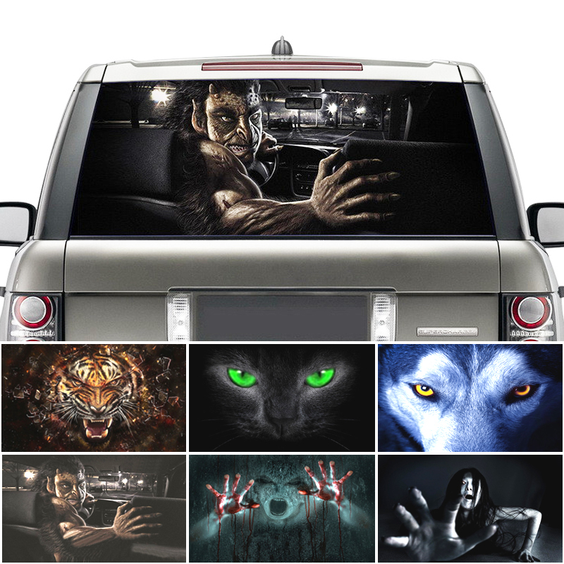 Surprise 3D Car trasero parabrisas pegatina One Way Vision Material OEM 130*70cm único ORC Lobo ojos Thriller pegatina de miedo