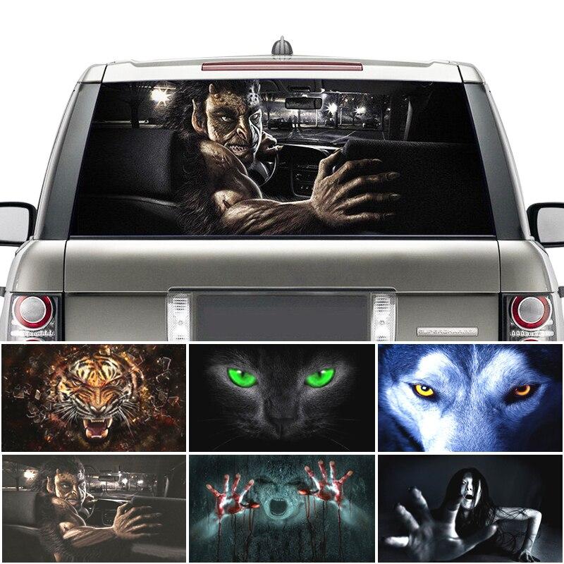 Verrassing 3D Auto Achter Voorruit Sticker Waterdicht One Way Vision Materiaal Oem 130*70 Cm Unieke Orc Wolf Thriller sticker Scary