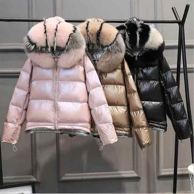 Glossy Women Winter Jacket Natural Fur Collar Winter Coat Women Short Down Parka Lady Hooded Parkas Warm waterproof Jackets Slim