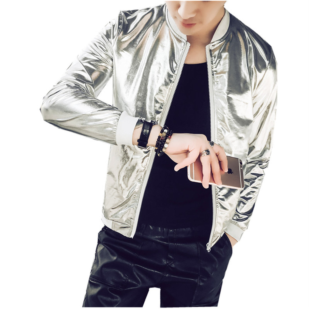Summer Men Bomber Jacket Fashion 2018 Slim Sun Protection Clothing Golden Silver Shining Jackets Male Plus Size 5XL Stage Coats