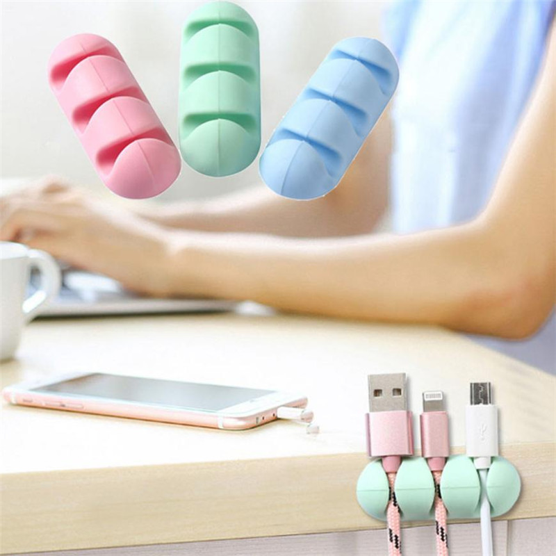 Hot Sales Creative Silica Gel Desktop Data Cable Storage Hub Fastening Clamp Wall Wire Fixed Self-Adhesive Cable Clamp Sub-