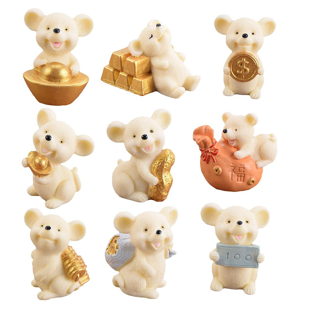Resin Money Lucky Rat Animal Figurines Statue DIY Mini Garden Table Ornament