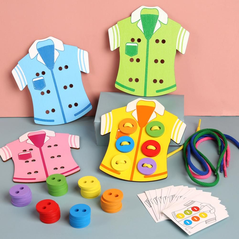 Parenting Education Montessori Education Learning Beads Lacing Board Wooden Toys Sew On Buttons Arts Crafts DIY Beads Toys Gift