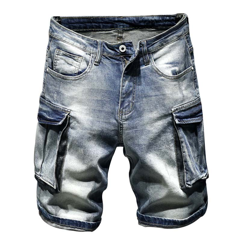KIOVNO Men's Cargo Casual Denim Shorts Multi Pockets Straight Short Jeans For Male Washed Size 28-36