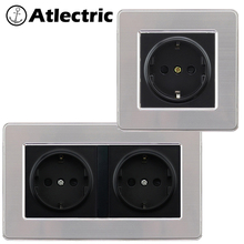Atlectric EU/DE/RU Standard Plug Socket Power Grounding Socket Stainless Steel Panel Double Plug Electrical Outlet 146mm*86mm