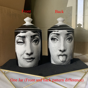 Lady Face Jar DIY Empty Candle Holder Beauty Dressing Brush Pen Box with Lid Ceramic Storage Tin Flower and Bottle 20