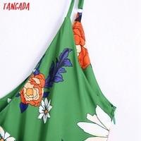 Tangada Women's Long Dress Flowers Print V Neck Strap Adjust Sleeveless 2021 Korean Fashion Lady Elegant Dresses CE310 2