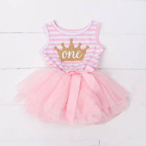 Baby Girls 1 Year Birthday Dress Vest Stripe Dress Casual Outfit 1st 2nd 3rd Birthday Toddler Dresses Clothes Infant Party Wear(China)