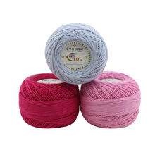 Cheap 50g/balls Worsted 5# Lace Knit Yarn 100% Cotton Crochet for DIY Hand Knitting Crocheted Thin Thread QW065