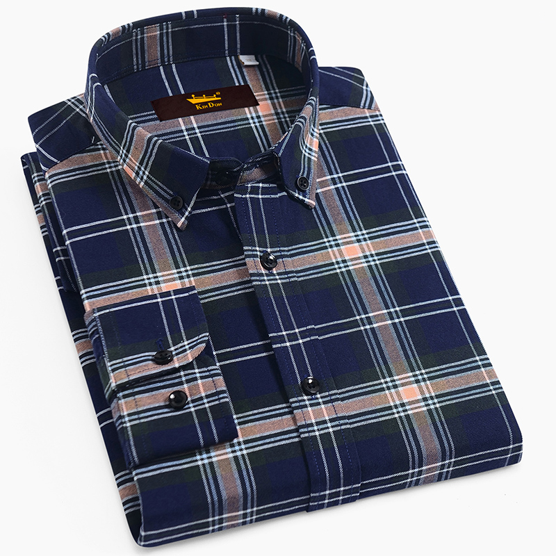 Checkered Shirt Button-Down Plaid Comfortable Thick Men's Casual Cotton Long-Sleeve Standard-Fit