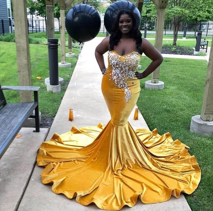 Velvet Mermaid Prom Dresses With Sweetheart Crystals Beads African Evening Dress Sleeveless Court Train Custom вечернее платье