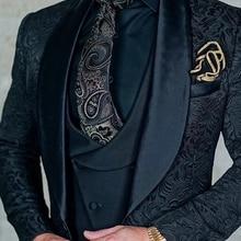 Ternos de casamento dos homens 2020 design italiano feito sob encomenda preto smoking jaqueta 3 peça noivo terno para homem