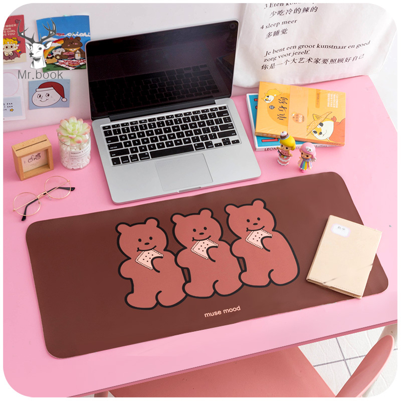 Cartoon Desk Pad Large Mouse Pad Gamer Waterproof PU Leather Desk Mat Computer Keyboard Kawaii Table Decoration Cover 60x30cm