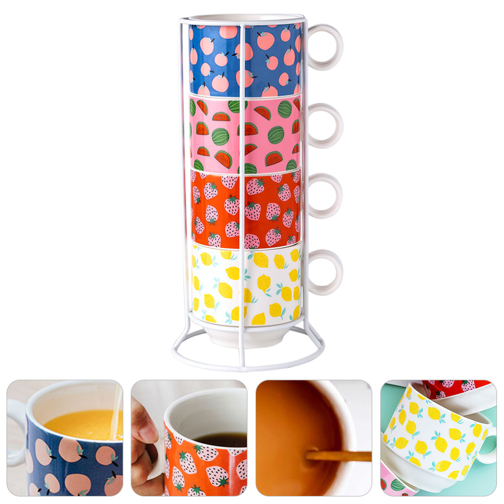 1 set ceramic stackable coffee mugs tea cups with iron stand for home office