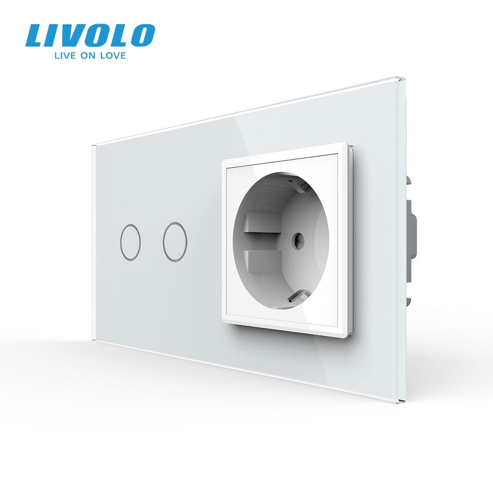 Livolo 16A EU standard Wall Power Socket with Touch Switch, AC220~250V,7 colors Crystal Glass Panel, C702-C7C1EU-11,no logo