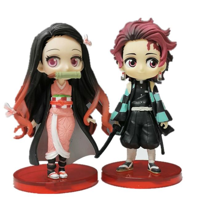 Demon Slayer Kimetsu no Yaiba Nezuko Tanjirou Q Ver. PVC Action Figures Anime Demon Slayer Figurine Toy Figurals 2pcs/set
