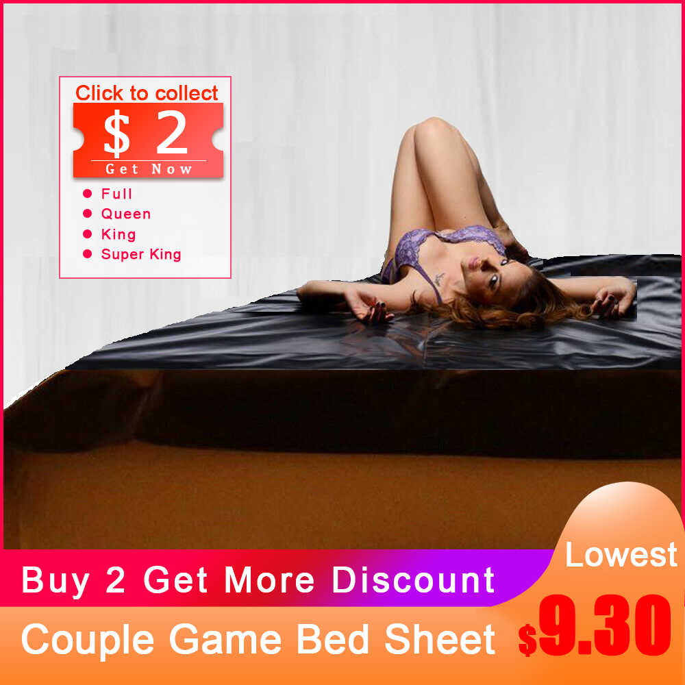 PVC Plastic Adult Sex Bed Sheets Sexy Game Vinyl Waterproof Hypoallergenic Mattress Cover Full Queen King Bedding Sheets