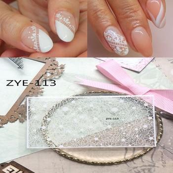 1 hoja negro/blanco encaje flor hoja imagen uñas pegatinas barniz adhesivo pegatinas DIY decoración para manicura consejos ZYE