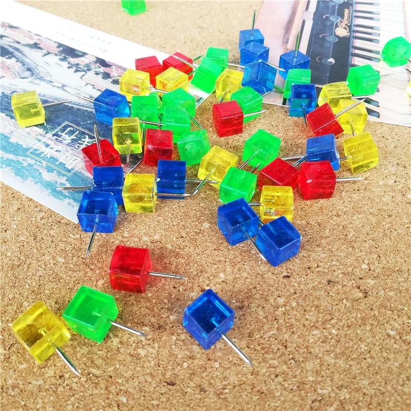 80pcs Plastic Push Pins Square Pin Tacks Set Color Thumbtacks for Cork Board Photo Wall Decorative Creative Office Stationery