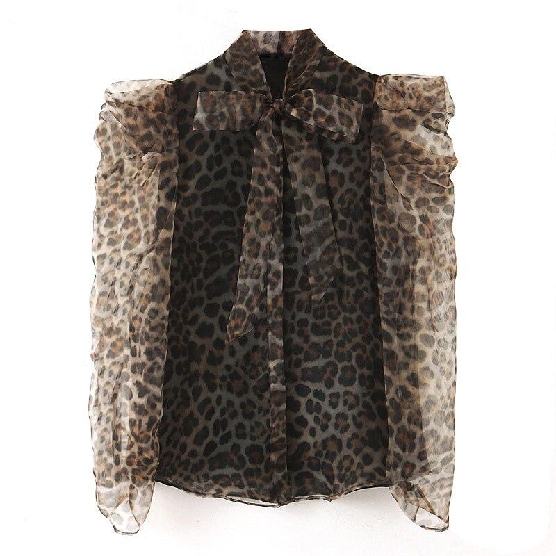 Transparent Women Blouse Leopard Shirt Autumn 2019 New Fashion Bow Collar Puff Sleeve Modern Lady Sunscreen Tops