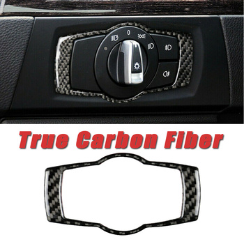 Trim Headlight Switch sticker Interior Cover For BMW 3 Series E90 E92 E93 2005-2012 Replacement Carbon Fiber image