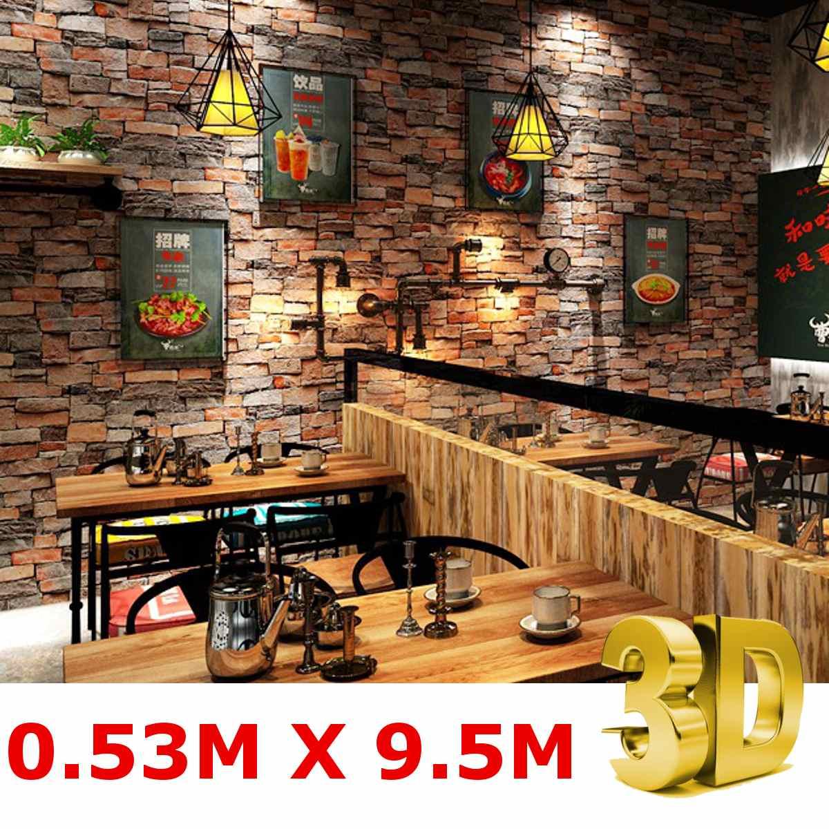 3D PVC imperméable à l'eau papiers peints murs autocollants Vintage pierre brique papier peint rouleau pour salon Restaurant décor 53x9.5m