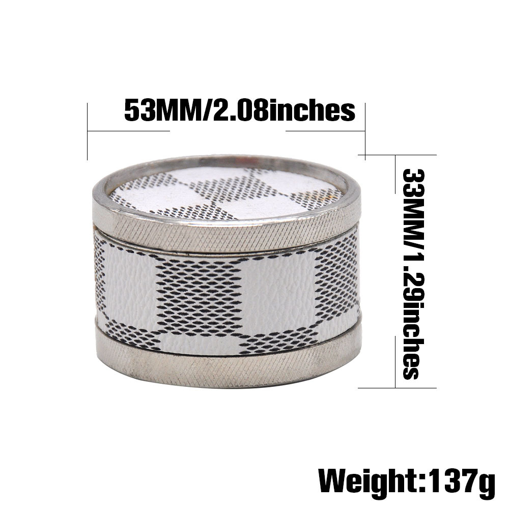 Leather & Metal Smoking Grinder 53MM 3 Piece With Shark Teeth Zinc Alloy Tobacco Herb Grinder Handmade Crusher 1