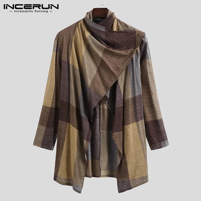 INCERUN Men Coats Turtleneck Plaid Cotton Long Sleeve Trench Ponchos Vintage Streetwear 2021 Casual Irregular Outerwear Cloak 5
