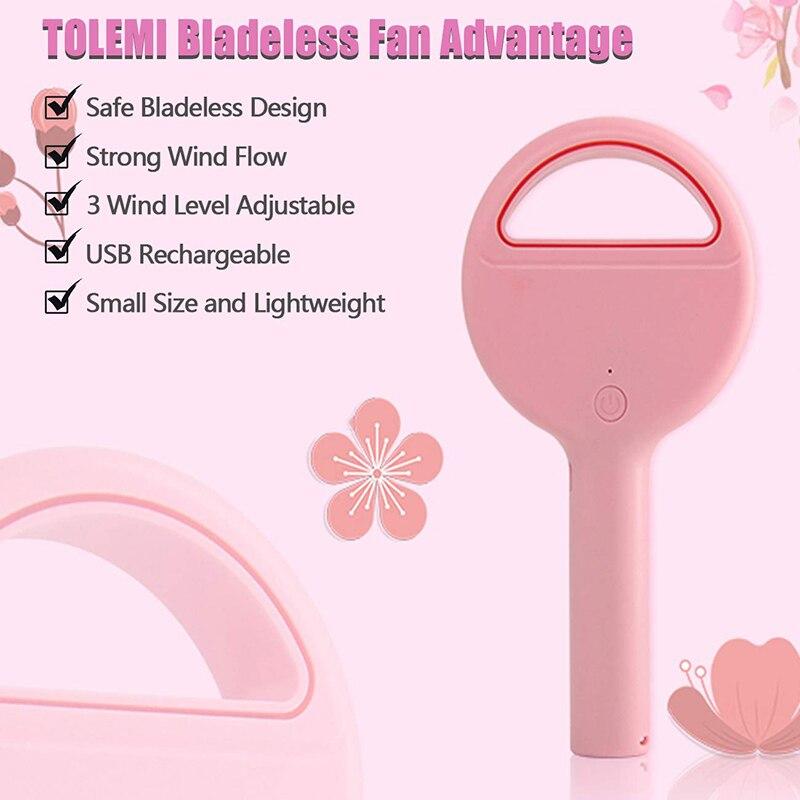 Ev Aletleri'ten Fanlar'de Kişisel Fan el Bladeless Fan soğutucu şarj edilebilir elektrikli Fan kablosuz masaüstü vantilatör ev ofis seyahat için kamp yürüyüş title=