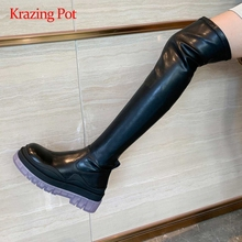 Fashion Boots Krazing-Pot Over-The-Knee Platform Thick High-Heel Zipper Natural-Leather