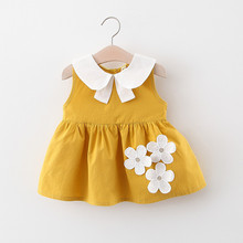 DFXD New Arrival Baby Girls Dresses 2020 1st Toddler Party Dress Peter Pan Collar Flower Dress Newborn Clothes 6M-3T Vestidoes cute short pink and white flower girl dresses peter pan collar knee length baby girls summer dress 1st birthday outfit with bow