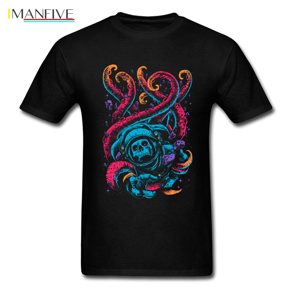 Lost In The Sea T shirt Men Skull Astronaut T Shirt Neon Octopus Tshirt Print Monster Clothes Hipster Tops Hip Hop Tee Oversized in T Shirts from Men 39 s Clothing