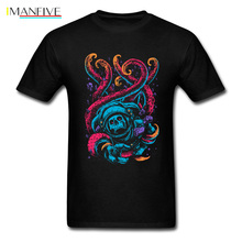 цены на Lost In The Sea T-shirt Men Skull Astronaut T Shirt Neon Octopus Tshirt Print Monster Clothes Hipster Tops Hip Hop Tee Oversized  в интернет-магазинах