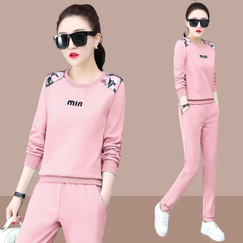 women outfit 2019 two piece set clothes top and pants spring autumn ladies tracksuits korean style plus size fashion lounge wear lounge wear set long sleeve outfit two peice sets womens 2 piece pants sets women fall clothes for women 2020 women clothing